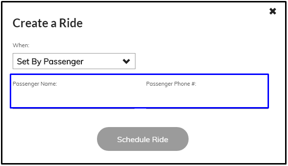 create ride set by passenger form